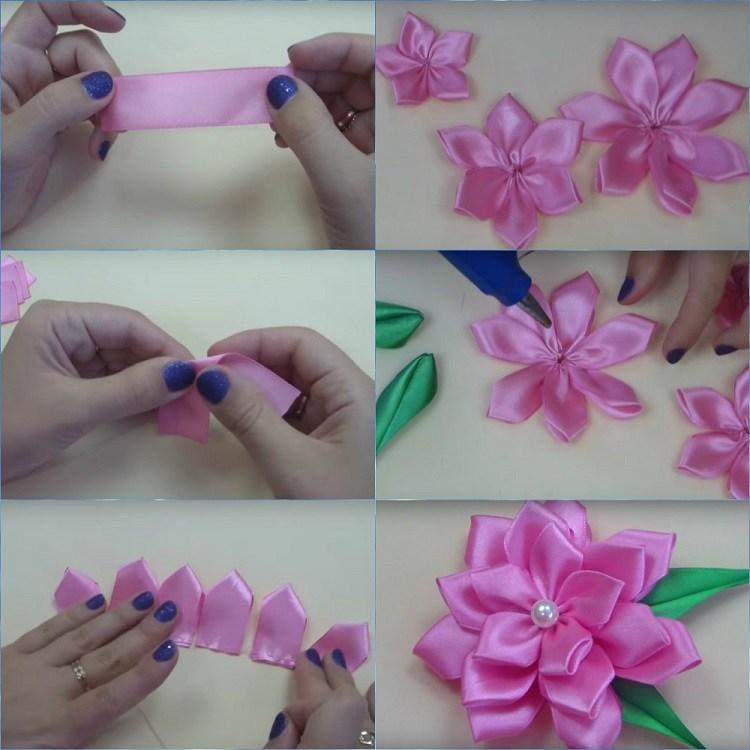 Разные цветы из атласных лент
